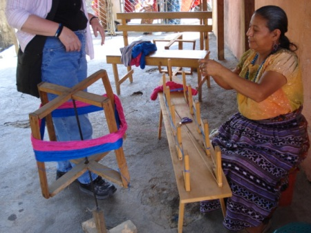 Yarn is typically  transferred from the swift to the warping board for a backstrap loom.